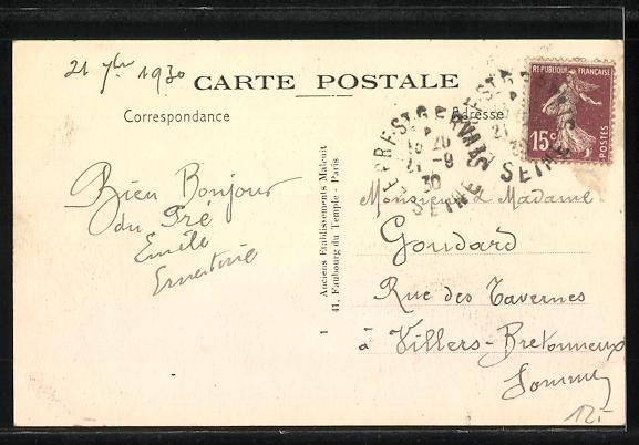 AK Le Pré-Saint-Gervais, Rue Emile Augier, La Salle des Fetes et la Gendarmerie 1