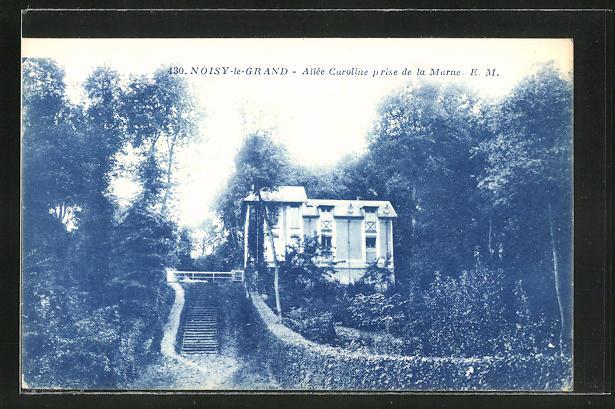 AK Noisy-le-Grand, Allee Caroline prise de la Marne