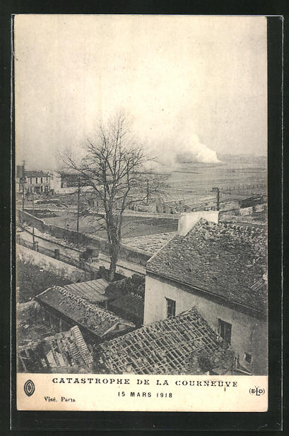 AK Courneuve, Teilansicht nach der Brandkatastrophe am 15 März 1918
