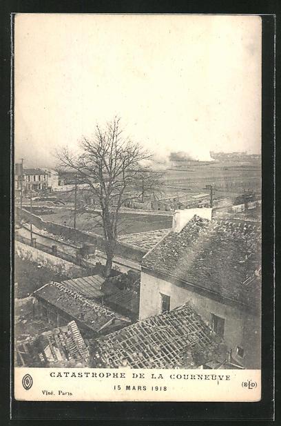 AK Courneuve, Teilansicht nach der Brandkatastrophe am 15 März 1918 0
