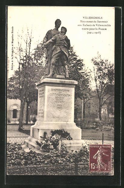 AK Villemomble, Monument du Souvenir aux Enfants de Villemomble morts pour la France