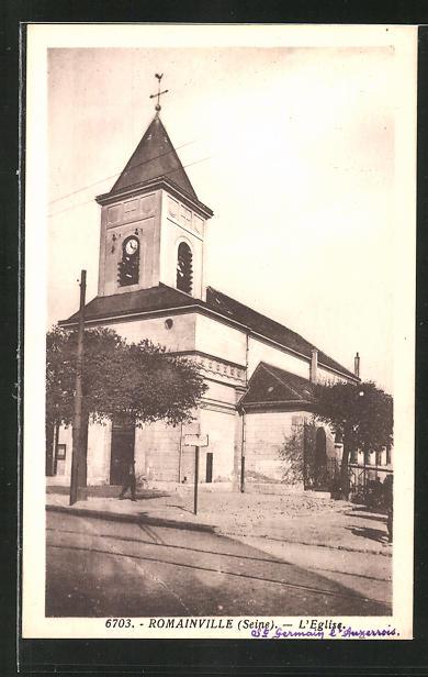AK Romainville, L'Eglise, Partie an der Kirche 0