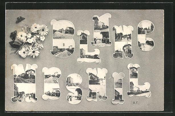 AK Blanc-Mesnil, Ortspartien mit Gebäudeansicht im Schriftzug