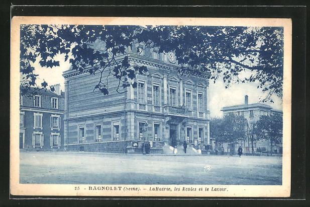 AK Bagnolet, La Mairie, les Ecoles et le Lavoir, Sicht auf das Rathaus