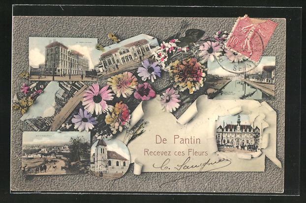 AK Pantin, Mehrfachansichten, Gebäudeansicht im Passepartout mit Blumen 0