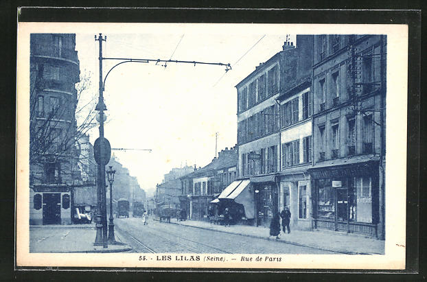 AK Les Lilas, Rue de Paris, Strassenpartie