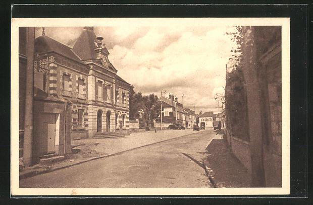 AK Breval, Place et Mairie, Strassenpartie mit Rathaus 0