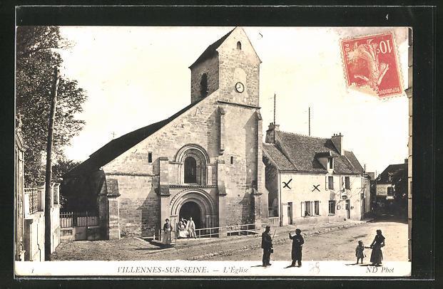 AK Villennes-sur-Seine, L'Eglise, Partie an der Kirche mit Passanten 0