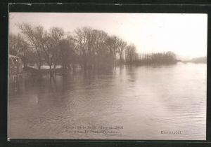 AK Chatou, La crue de la Seine, Janvier 1910, Vue prise du Pont de Chatou