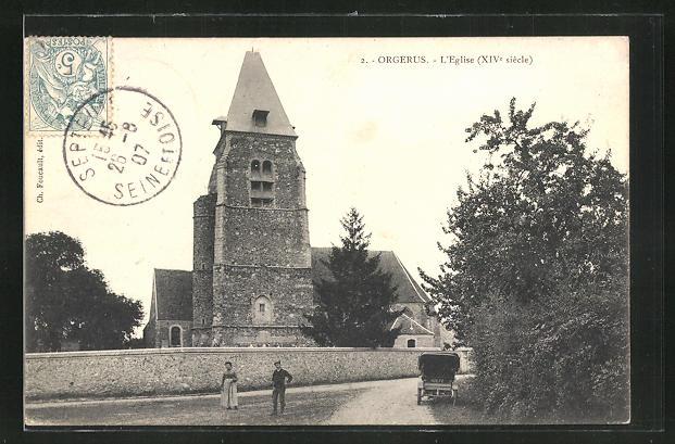 AK Orgerus, L'Eglise, Ortspartie mit Blick auf die Kirche 0