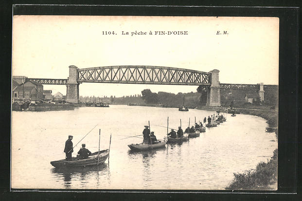 AK Fin-d'Oise, La peche, Männer beim Angeln in Ruderbooten 0