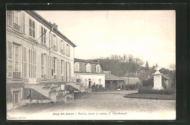 AK Jouy-en-Josas, Mairie, ecole et statue d'Oberkampf