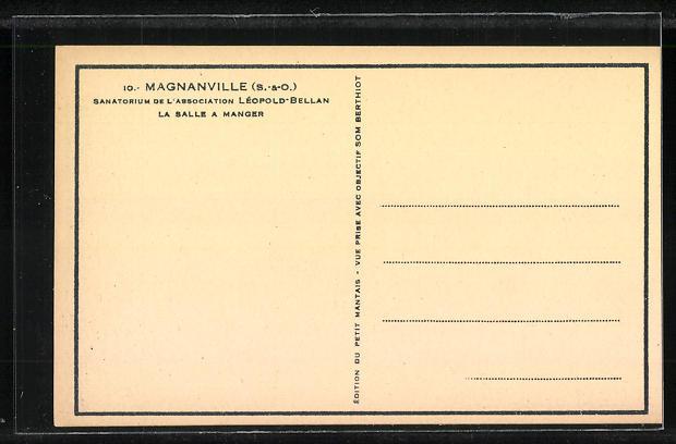 AK Magnanville, Sanatorium de l'Association Leopold Bellan, La Salle a Manger 1