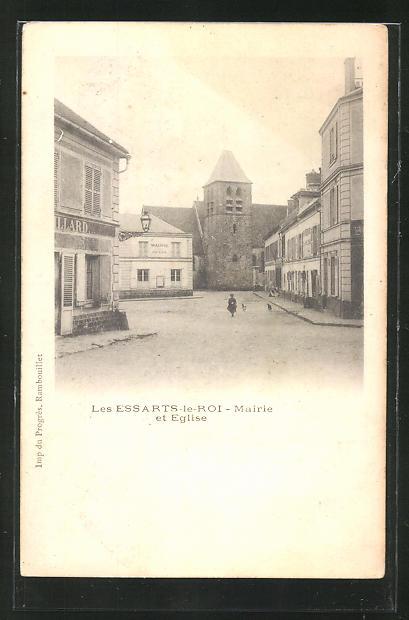 AK Les Essarts-le-Roi, Mairie et Eglise