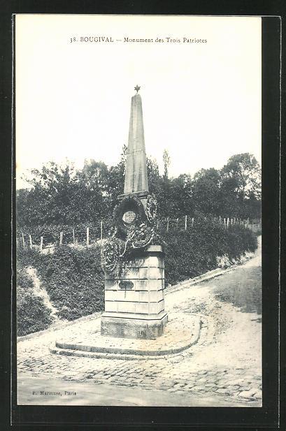 AK Bougival, Monument des Trois Patriotes 0