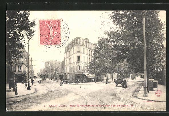 AK Saint Ouen, Rue Montmartre et Avenue des Batignolles