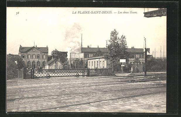 AK La Plaine-Saint Denis, Les deux Gares 0