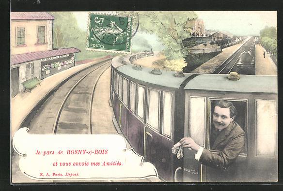 AK Rosny-sous-Bois, Ortsansicht mit Eisenbahn 0
