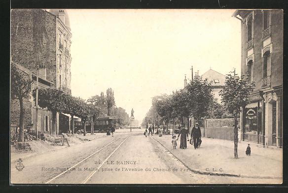 AK Le Raincy, Rond-Pont de la Marie, prise de l'Avenue du Chemin de Fer