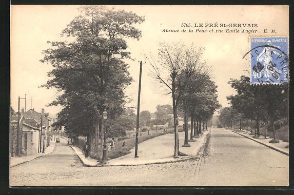 AK Le Pré-St-Gervais, Avenue de la Peux et rue Emile Augter