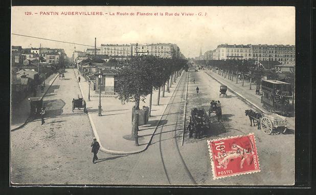 AK Pantin Aubervilliers, La Route de Flandre et la Rue du Vivier