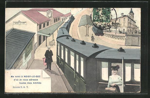 AK Noisy-le-Sec, Eisenbahn verlässt den Bahnhof