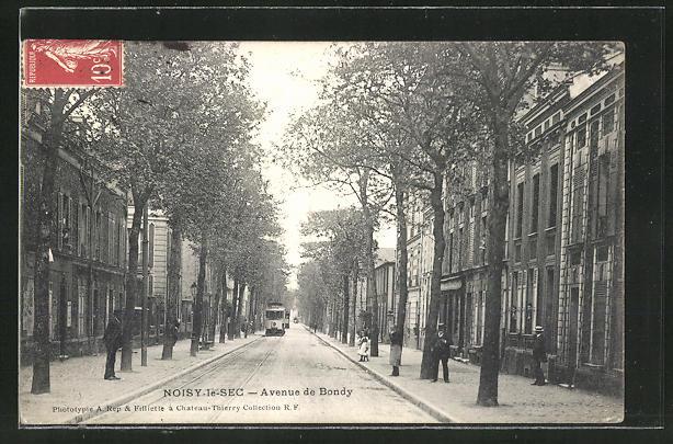 AK Noisy-le-Sec, Strassenbahn in der Avenue de Bondy