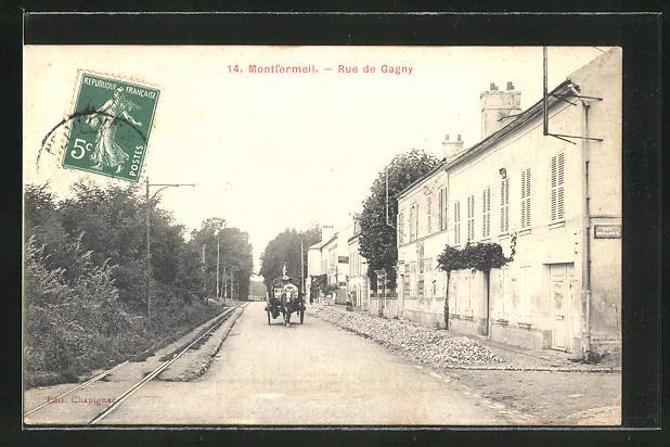 AK Montfermeil, Kutsche in der Rue de Gagny