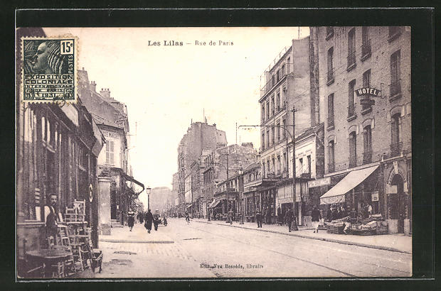 AK Les Lilas, Geschäftszeile in der Rue de Paris