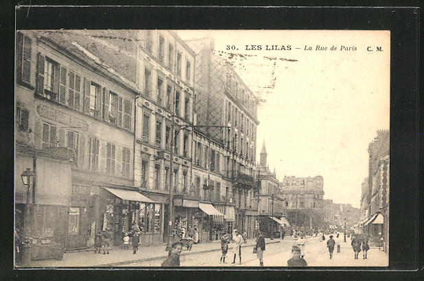 AK Les Lilas, Blick in die Rue de Paris 0