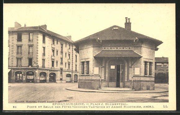 AK Epinay-sur-Seine, Place J. Blumenthal, Poste et Salle des Fetes