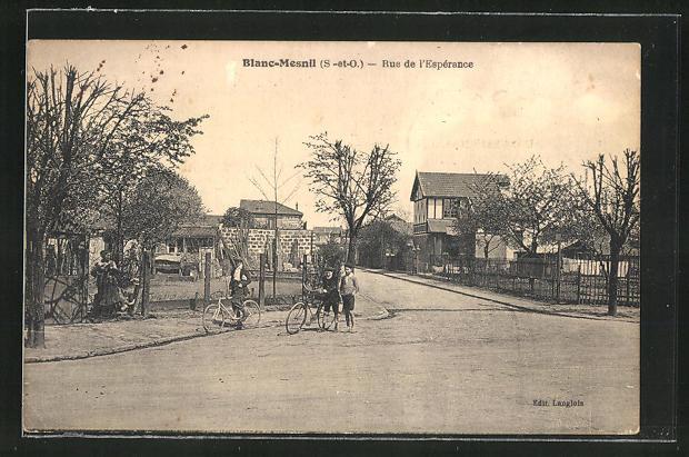 AK Blanc-Mesnil, Rue de l'Esperance, Knaben mit Fahrrädern
