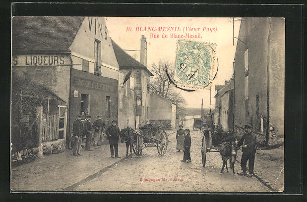 AK Blanc-Mesnil, Rue de Blanc-Mesnil, Fuhrwerke