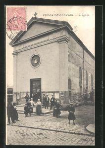 AK Pré-Saint-Gervais, L'Église, Einwohner vor der Kirche