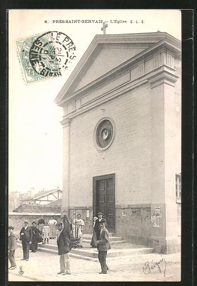 AK Pré-Saint-Gervais, L'Église, Einwohner am Eingang zur Kirche