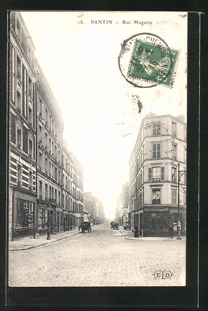 AK Pantin, Rue Magenta, Strassenansicht
