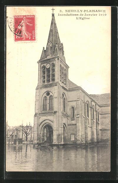 AK Neuilly-Plaisance, Inondations de Janvier 1910, L'Eglise