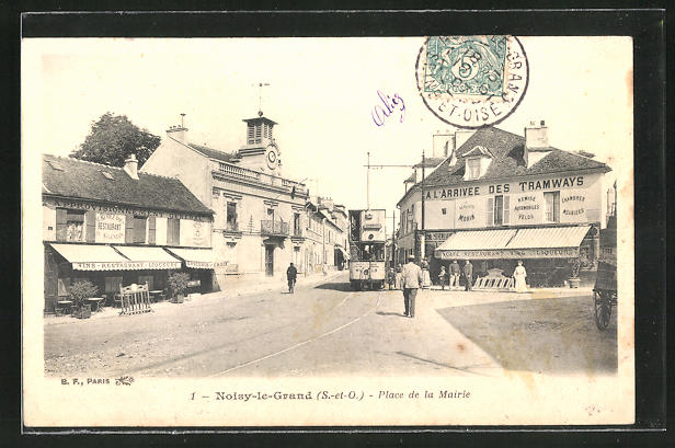 AK Noisy-le-Grand, Place de la Mairie, Strassenbahn