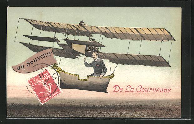 AK La Courneuve, Mann im Flugzeug in der Luft 0