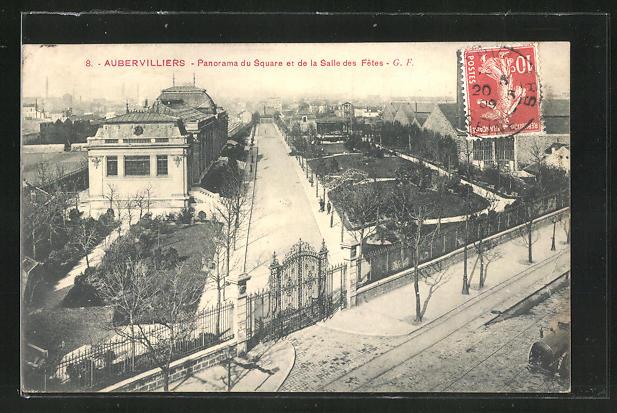 AK Aubervilliers, Panorama du Square et de la Salle des Fetes