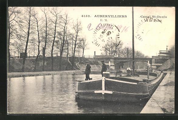 AK Aubervilliers, Canal St-Denis et le Pont 0