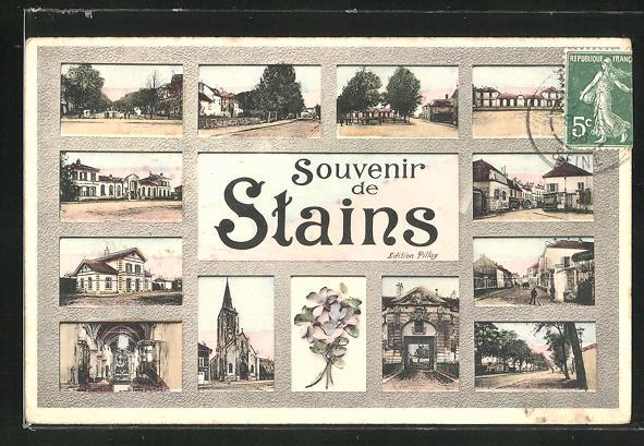 AK Stains, Ortspartie mit Strassen, Kirche und Gebäuden