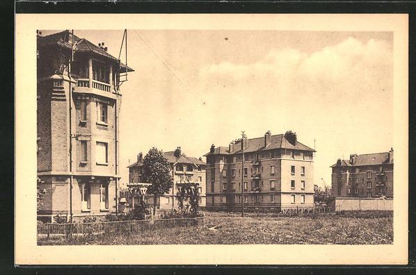 AK Stains, Cité Jardin, Teilansicht mit Gebäuden