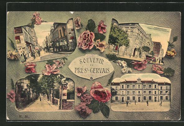 AK Pre-St-Gervais, La Grande Rue, Les Ecoles, La Villa