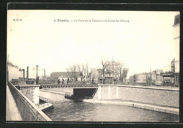 AK Pantin, Le Pont de la Mairie et le Canal de l'Ourcq
