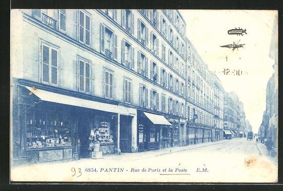 AK Pantin, Rue de Paris et la Poste