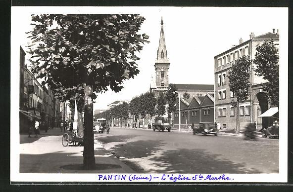 AK Pantin, Avenue Jean-Jaures et l'Eglise Sainte-Marthe 0