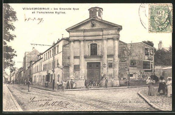 AK Villemomble, La Grande Rue et l'ancienne Eglise 0