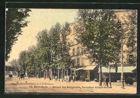AK Saint-Ouen, Avenue des Batignolles, Carrefour Ernest-Renan 0
