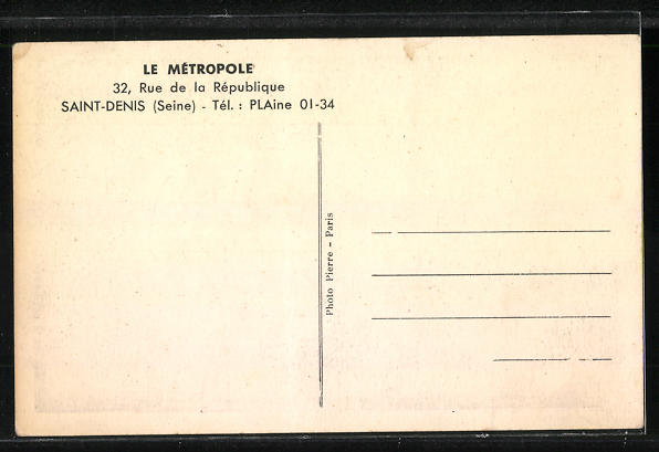 AK Saint-Denis, Le Metropole, 32, Rue de la Republique 1